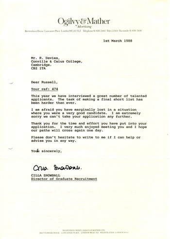 Russell Davies the past etc - didn t get the job letter