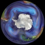The image shows the emission and transport of dust and other important aerosols to the Southern Ocean on Dec. 30, 2006. Dust is represented with orange to red colors, sea salt with blue, organic and black carbon with green to yellow, and sulfates with ash brown to white. In the image, a plume of dust has been emitted from southern South America and is being transported eastward over the Subantarctic Atlantic Ocean. (Image courtesy of William Putnam and Arlindo da Silva, NASA/Goddard Space Flight Center)