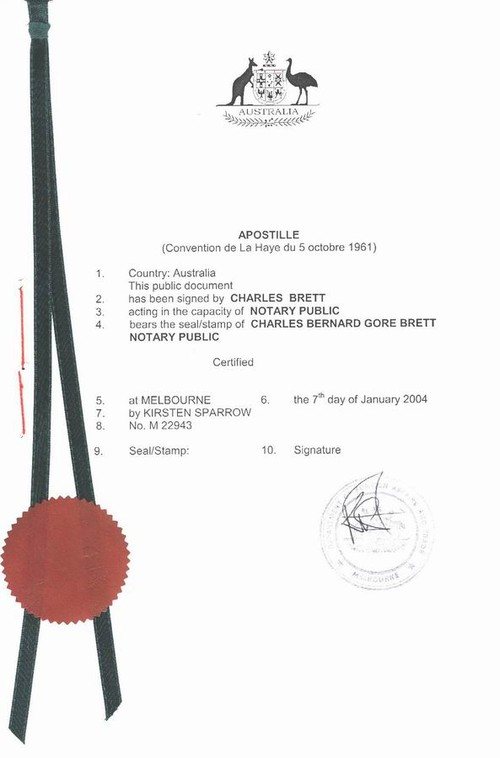 Apostille, legalization, authentication and restoration (renewal) of - examples of divorce papers