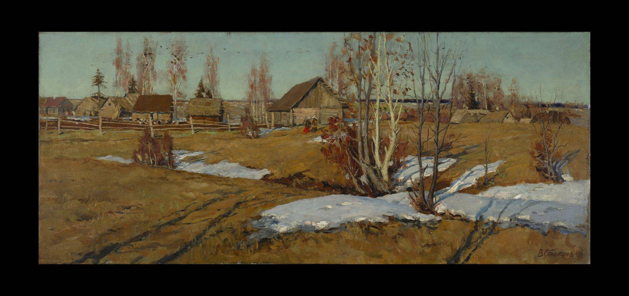 Houses Made Of Wood And Light Calm Evening By Stozharov, Vladimir Fedorovich | Russian