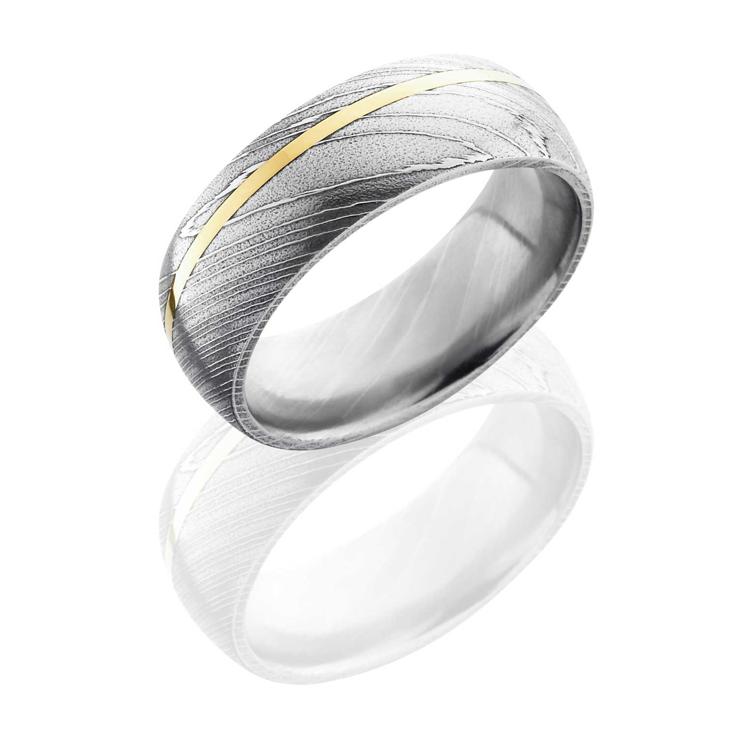 damascus steel band with off center yellow gold inlay lb damascus steel wedding bands Damascus steel band with off center yellow gold inlay LB LB 00 Russian Brilliants