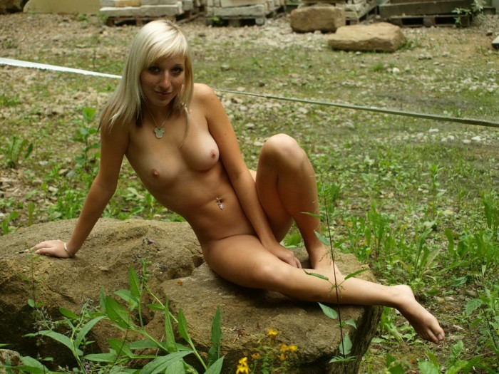 Perfect blonde girl with amazing big boobs and sweet shaved pussy