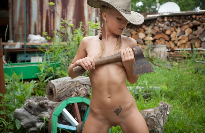 Nice phrase Nude girls chopping wood that would