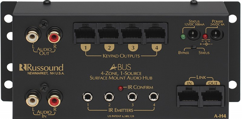 Russound - A-H4 1 Source, 4 Zone Surface Mount Hub