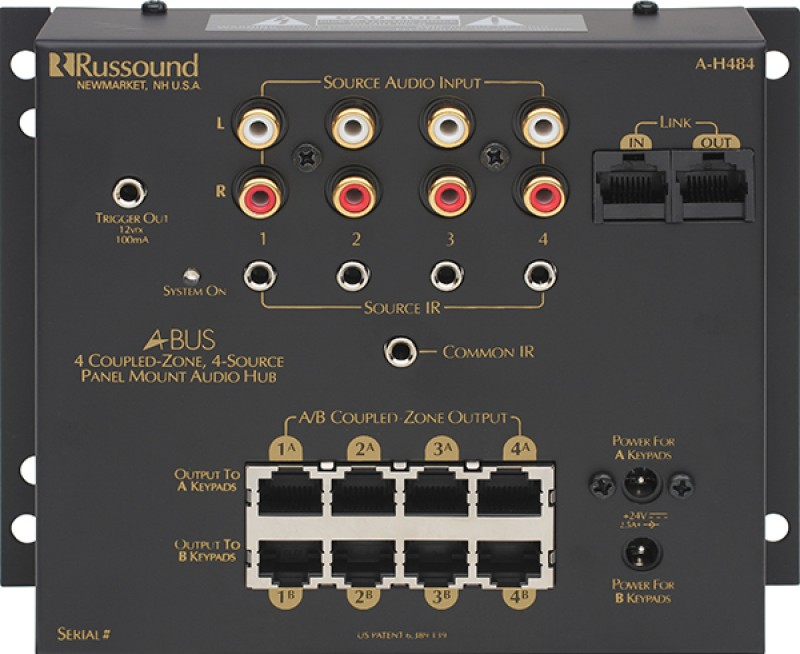 Russound - A-H484 4 Source, 4 Zone Surface Mount Hub
