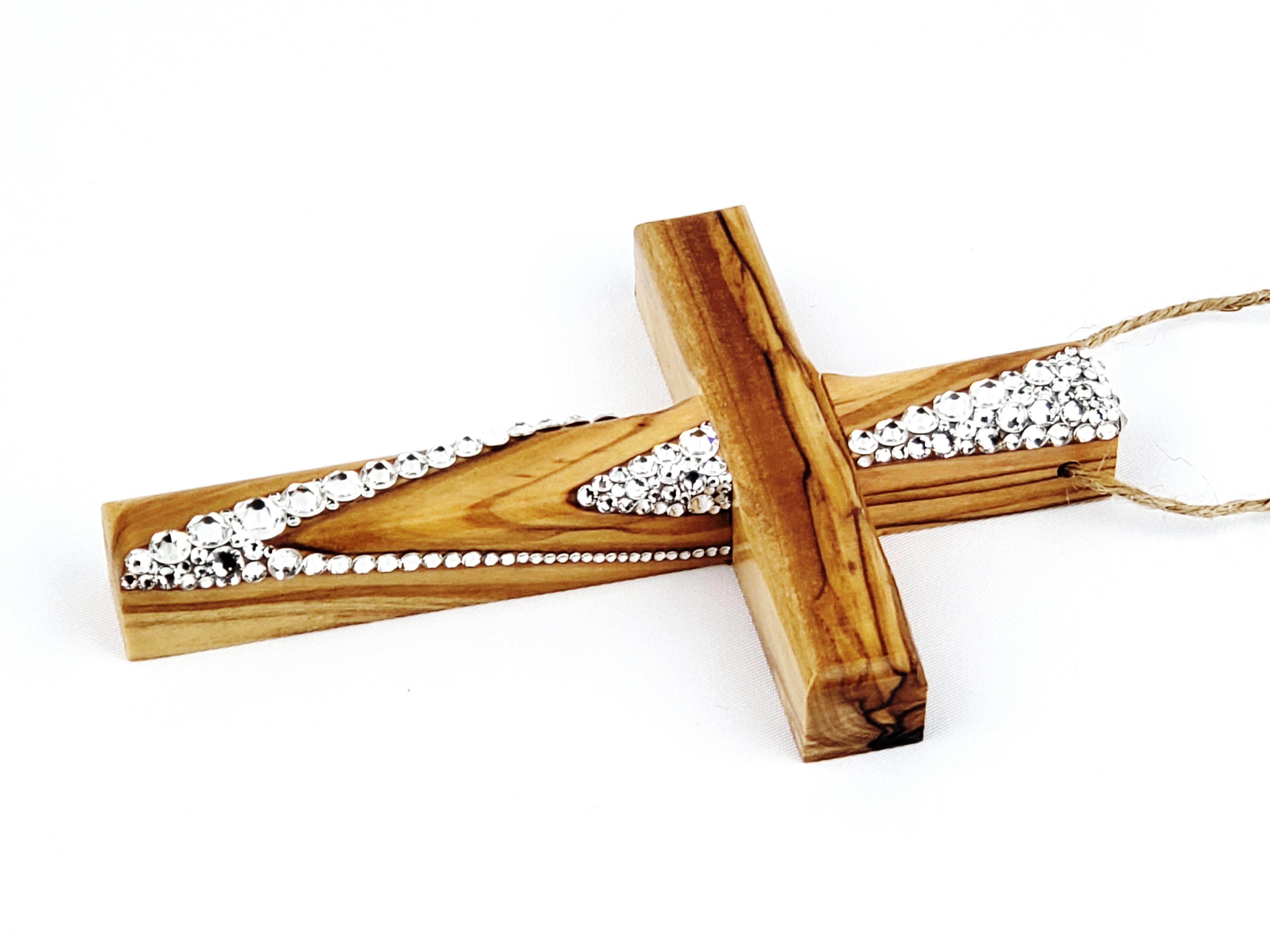 Candy Striped Olive Wood Cross Ornament Rustic Elegance