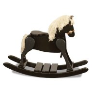 FireSkape Small Deluxe Amish Crafted Solid Maple Black Finished Rocking Horse with White Mane