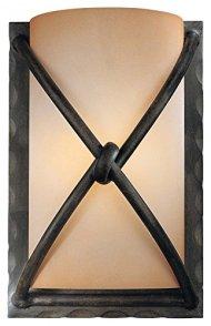 Minka Lavery 1974-1-138 Wall Sconce Aspen Bronze,1-60W Candelbra,Rustic Scavo Glass