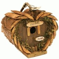 """Rustic Wood Heart-Shaped Birdhouse With """"Love Shack"""" Plaque Sign 7.75″"""