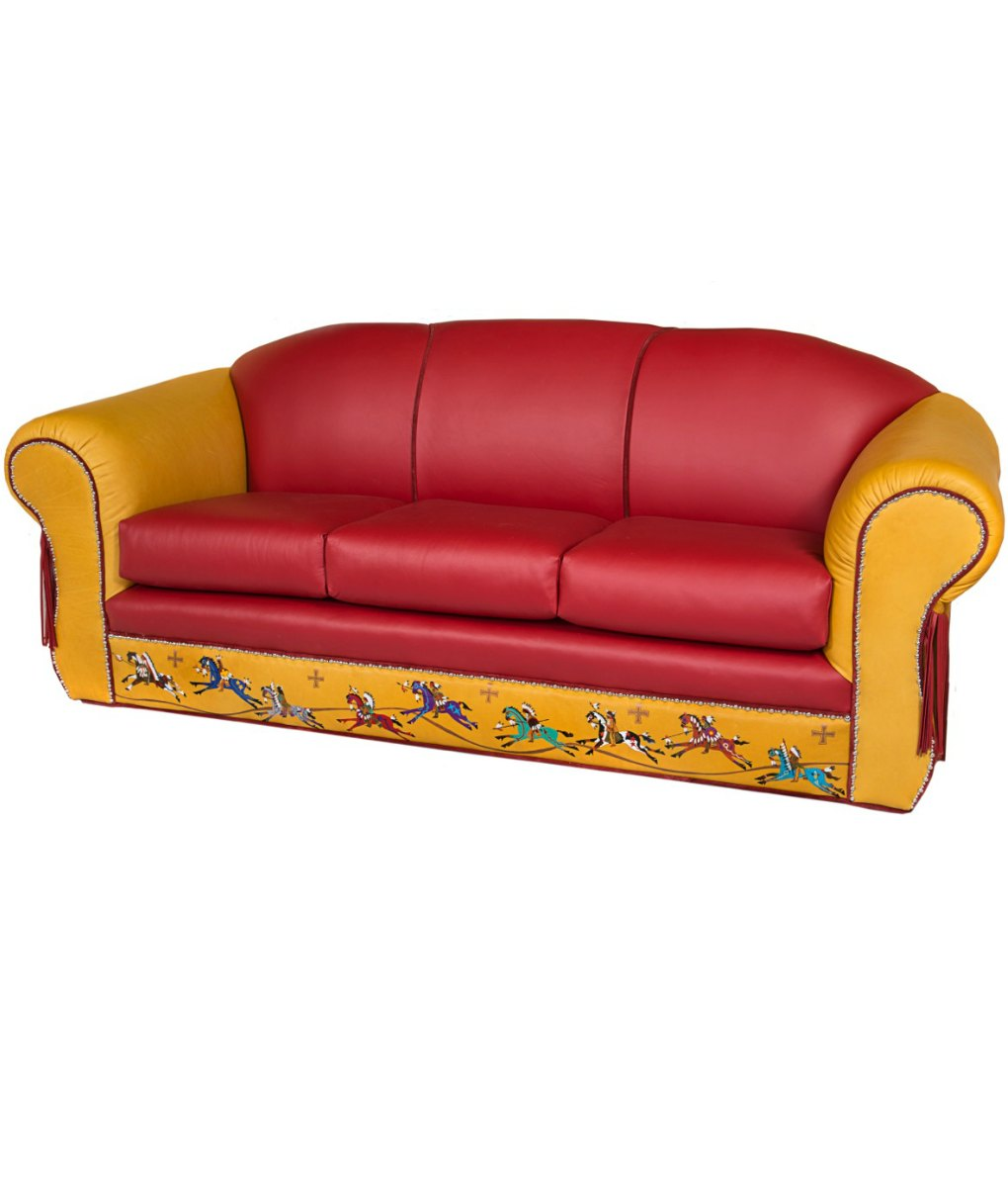 Western Leather Sofa With Indian Artwork