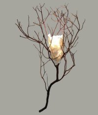 Twig Sconce with Handmade Paper Shade - Rustic Artistry