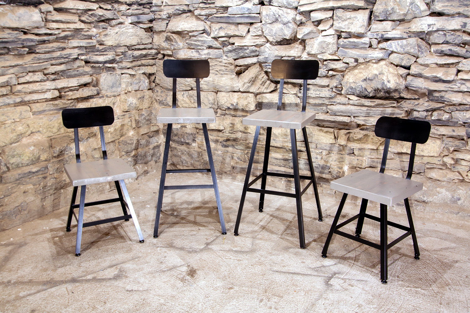 Industrial Bar Stools With Backs Brew Haus London Fog Edition Industrial Style Scooped