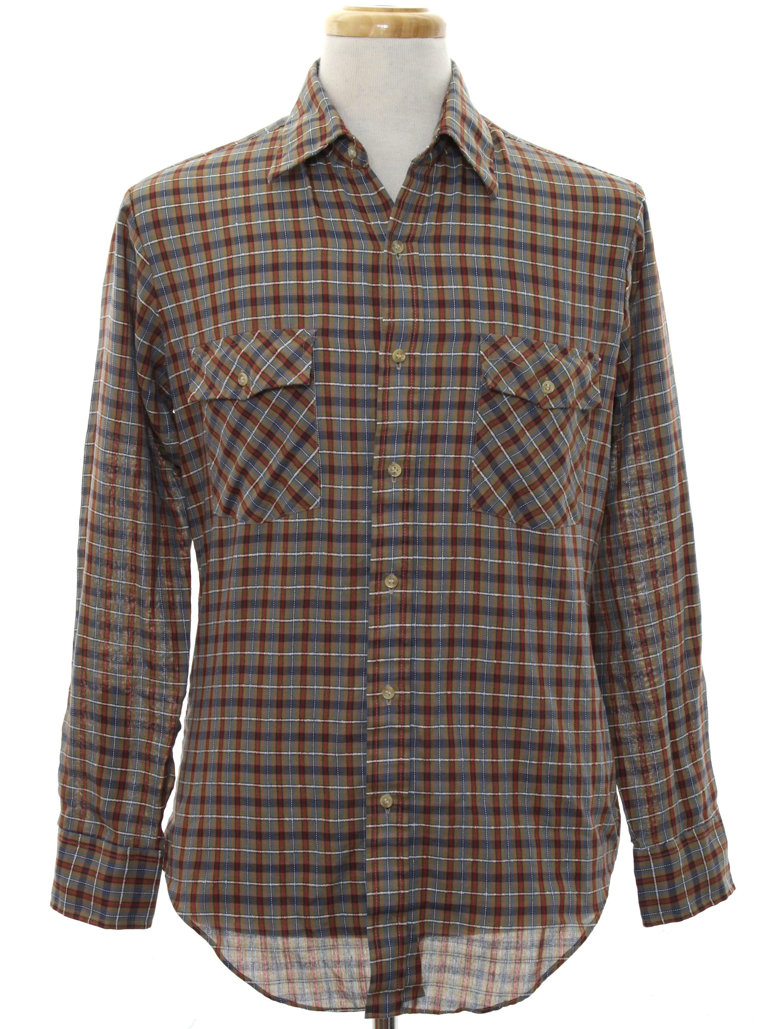 Plaid Taupe 1980 S Campus Mens Plaid Shirt