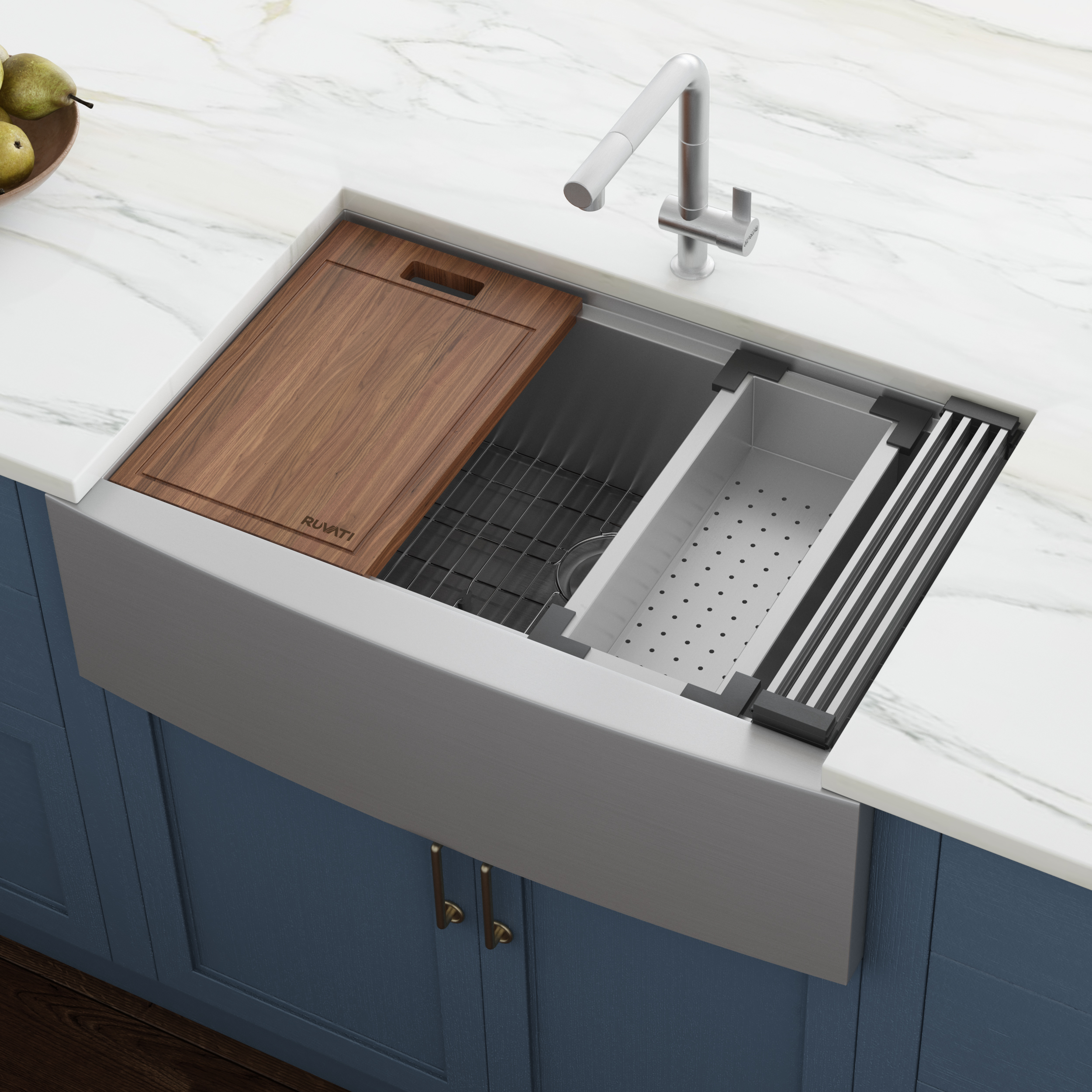 33 Inch Apron Front Workstation Farmhouse Kitchen Sink 16 Gauge Stainless Steel Single Bowl Ruvati Usa