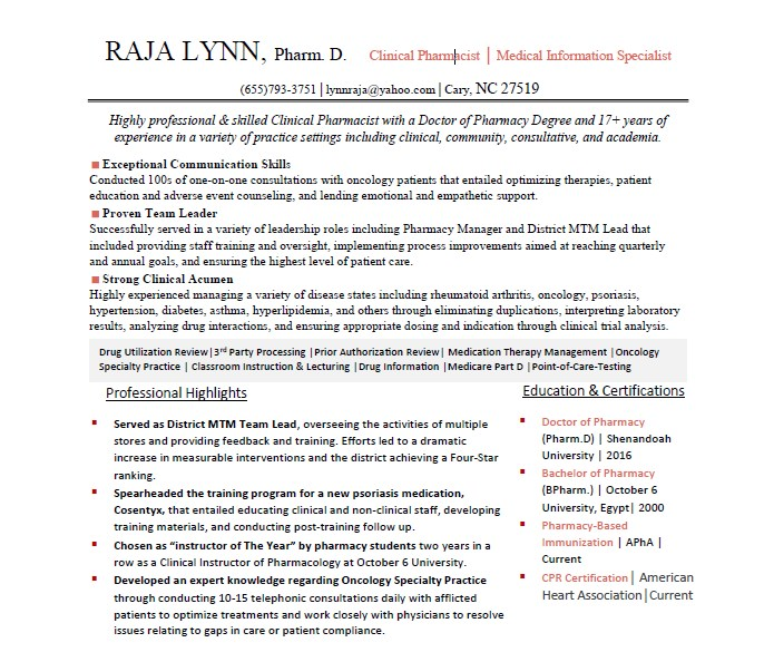 Resume Example - RxElite Resumes