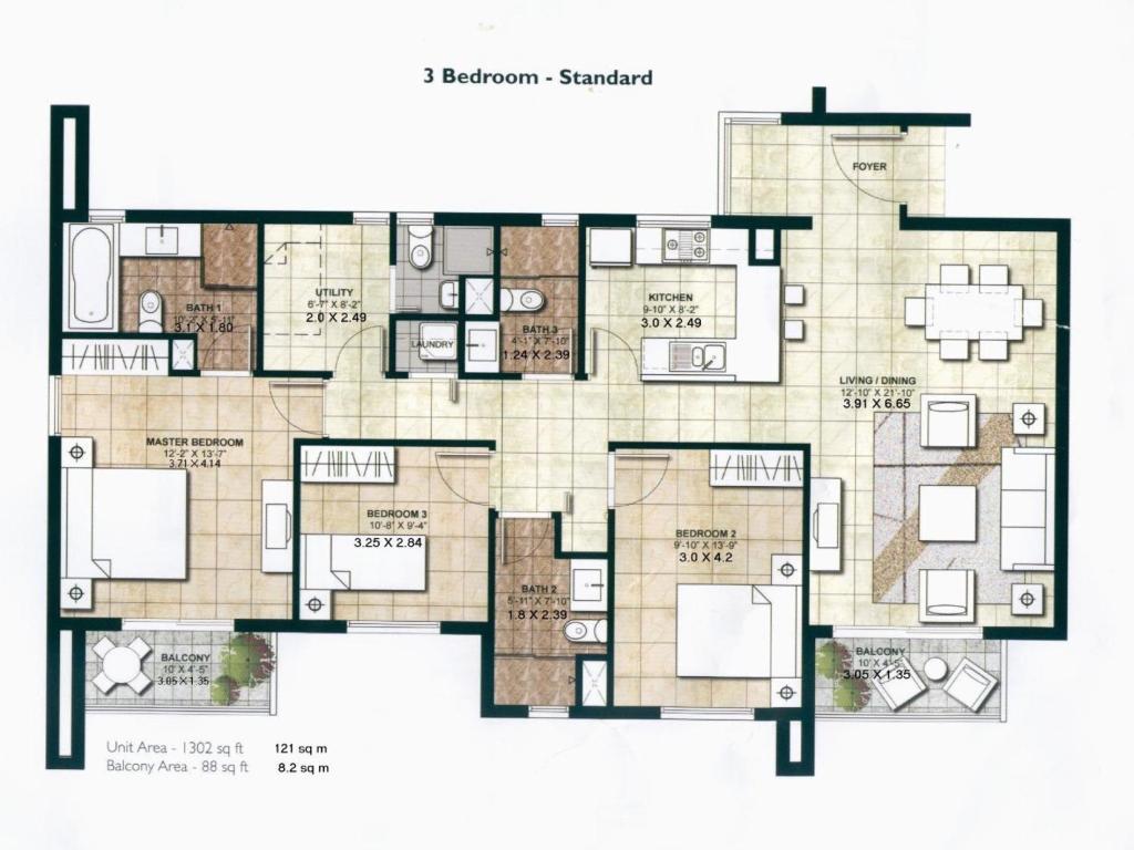 Three Bedroom Apartment Centrium Dubai Uae Bookingcom