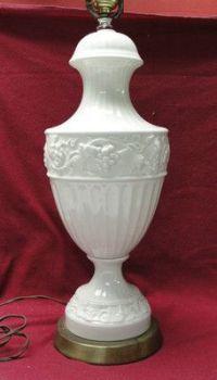 Vintage Milk Glass Flower Design Hurricane Table Lamp ...