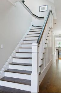 White stairs, Banisters and Stair banister on Pinterest