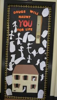 Red ribbon week, Red ribbon and Classroom door on Pinterest