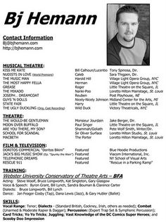 Create Acting Resume Online Free Acting Resume Template Build Your Own Resume Now Performance On Pinterest Actor Headshots Acting And Singers