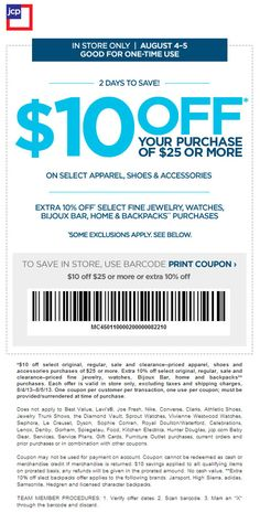 JCPenney: $10 off $25 Printable Coupon | Couponing | Pinterest | Printable Coupons and Coupon