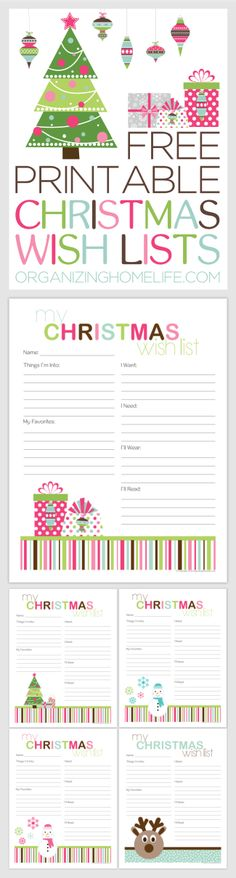 Free Christmas Wish List printable! In addition to things that the - christmas list format