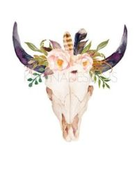 Watercolor Boho Bull Skull with Sunflower Bouquet by ...