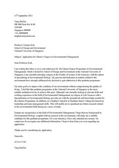 Cover letter for undergraduate admission