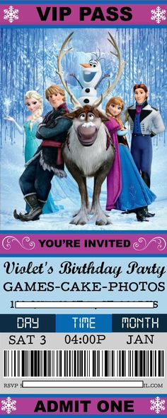 Convite personagens Festa Frozen Pinterest Congelada, Frozen - create your own movie ticket