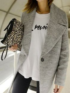 gray coat + leopard