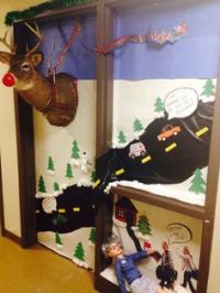"Christmas door decorating contest. ""Grandma Got Run Over ..."