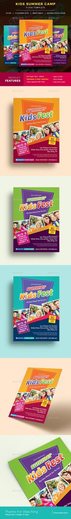 Kids Summer Camp Flyer Template PSD Flyer Templates Pinterest - camp flyer template