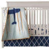 Blue and Orange Hot Air Balloon 3pc Crib Bedding Set