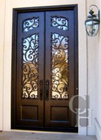 Milan Wrought Double iron door with square top and round ...