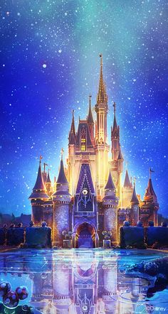 Tap image for more iPhone Disney wallpaper! Disney castle artwork - @mobile9 | Wallpapers for ...