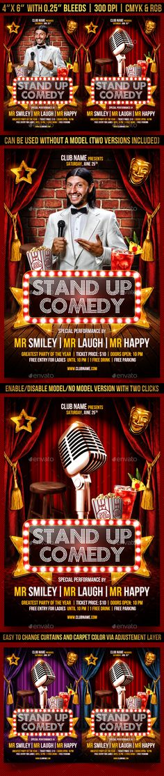 Movie Show Flyer Flyers, Movies and Movie nights - comedy show flyer template