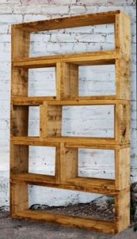 For the living room. Make custom unit from scaffold planks ...