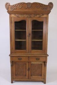 Antique Oak Library Table Desk Double Pedestal Empire Feet ...