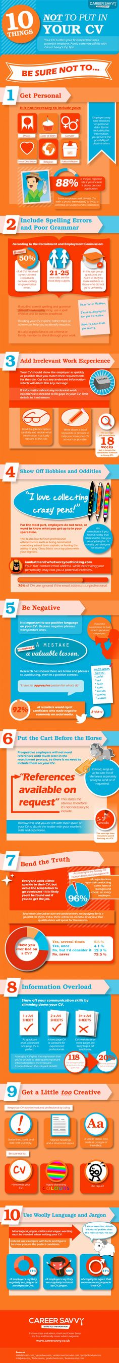 HOW TO Spruce Up a Boring Resume INFOGRAPHIC Crafting - things not to put on a resume