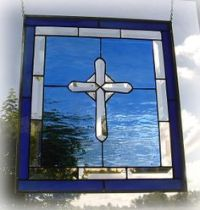 Religious Stained Glass Window Film | Cross Design with ...