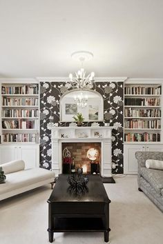 Love the wallpaper around fireplace | Fireplace mantels and built ins | Pinterest | Fireplaces ...