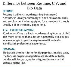difference between cv and resume in india corporate business