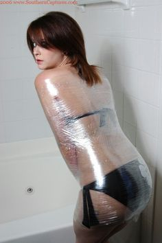 plastic wrap bondage male