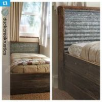 rustic headboard with wood and corrugated tin inlay | Did ...