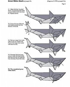 origami shark diagram instructions only