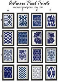 Navy Blue Art Blue White Wall Art Home Decor Set by ...