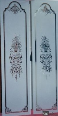 Etched glass corners for sandblasted glass designs | Doors ...