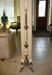 Vintage Carl Falkenstein Table Lamps Pair Green Bubble ...
