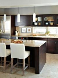 grey tile backsplash, white countertops, cherry cabinets ...