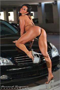 girl shorts car